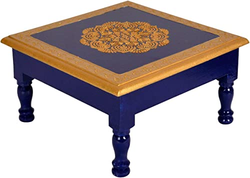 Lalhaveli Indian Hand Painted Golden Flower Design Blue Square Wooden Small End Table Christmas Home Decorations 9 x 9 x 6 Inches