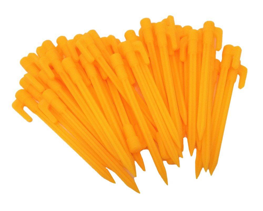 "HONBAY 40pcs 5.7"" Yellow Plastic Garden Stakes Tent Pegs"