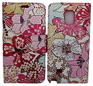 iViva presents Samsung Galaxy Note 4 Design Luxury Magnetic Wallet Case PU Leather Credit Card Holder Flip Cover + Clear Screen Protector (Orchid Flowers)