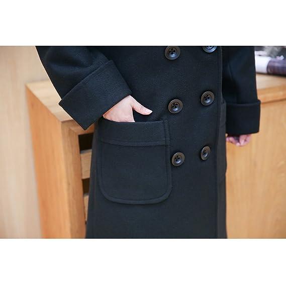 Zhhlinyuan Manteau de Femme de Conception de Mode Casual Double Breasted  Coat Women Lapel Trench Pea Coats   Jackets with Pocket Plus Size   Amazon.fr  ... 8c80af0bae5