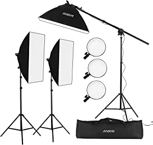 Andoer Photography Studio Softbox Lighting Kit Including 3pcs 45W Bi-Color 5500K Dimmable LED Lights 20 X 28inch Softbox 2m Light Stands Carry Bag for Photo Video Shoot