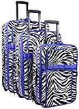 Zebra Print 3 Piece Luggage Set (Purple)