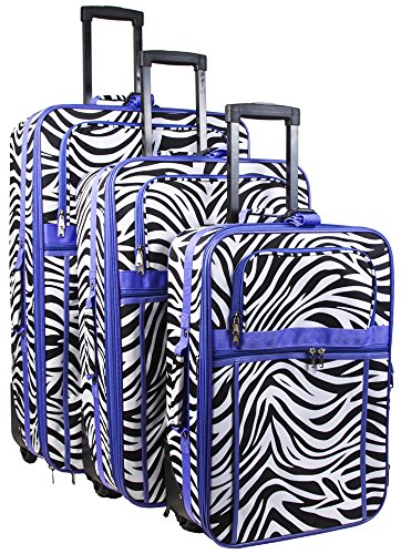 Zebra Print 3 Piece Luggage Set (Purple) by Unknown