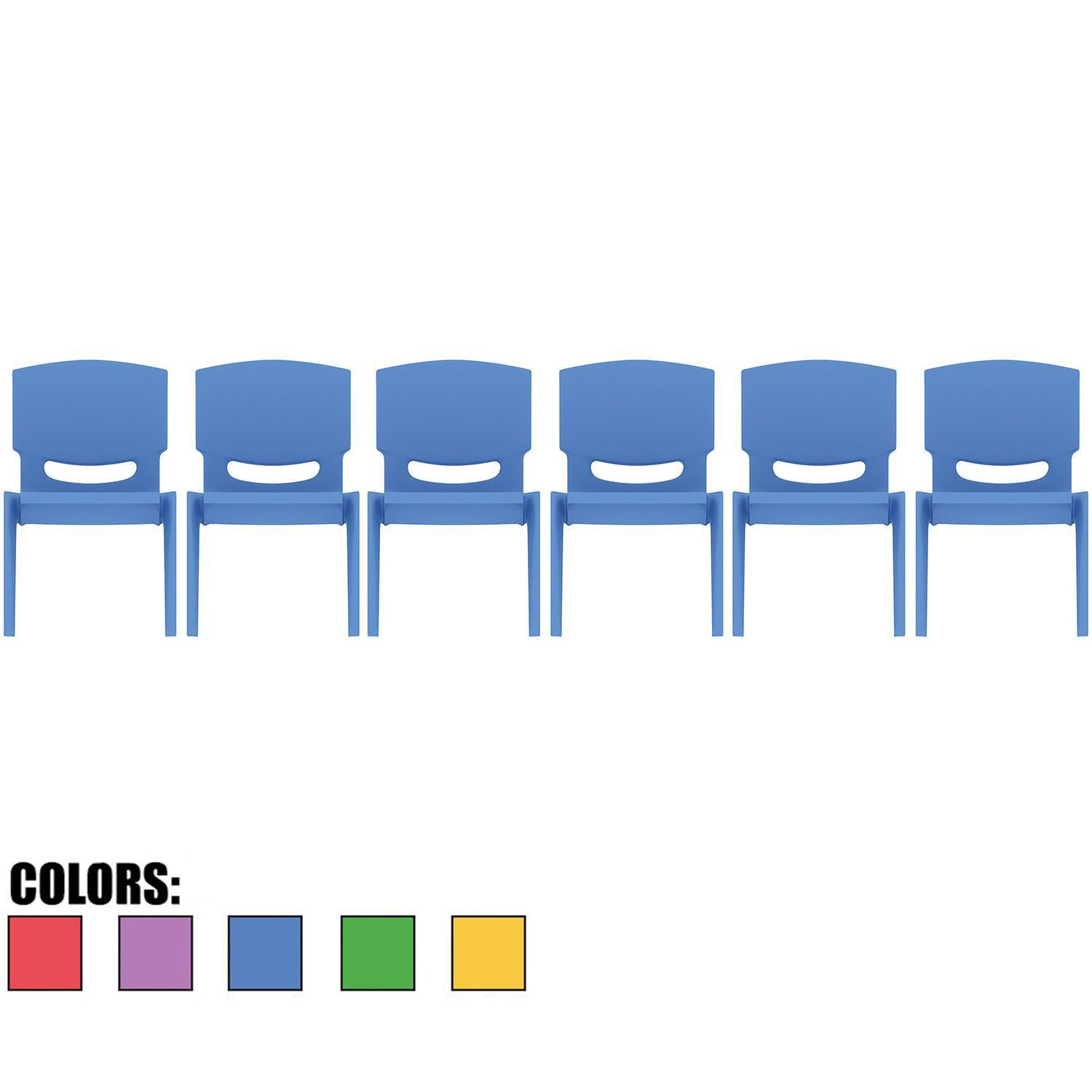 2xhome - Set of Six (6) - Blue - Kids Size Plastic Side Chair 10'' Seat Height Blue Childs Chair Childrens Room School Chairs No Arm Arms Armless Molded Plastic Seat Stackable