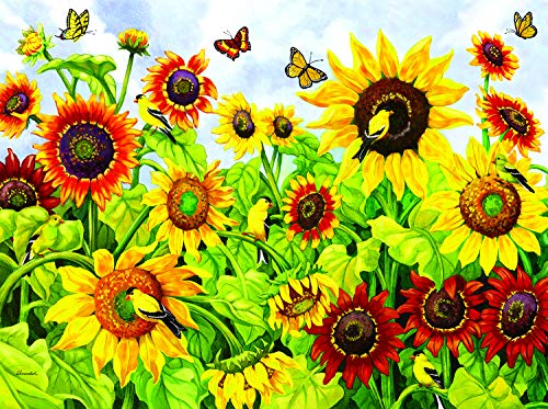 Sunsout 2019 Sunflowers and Goldfinches by Artist Nancy Wernersbach 300 Piece Flowers Jigsaw Puzzle ()