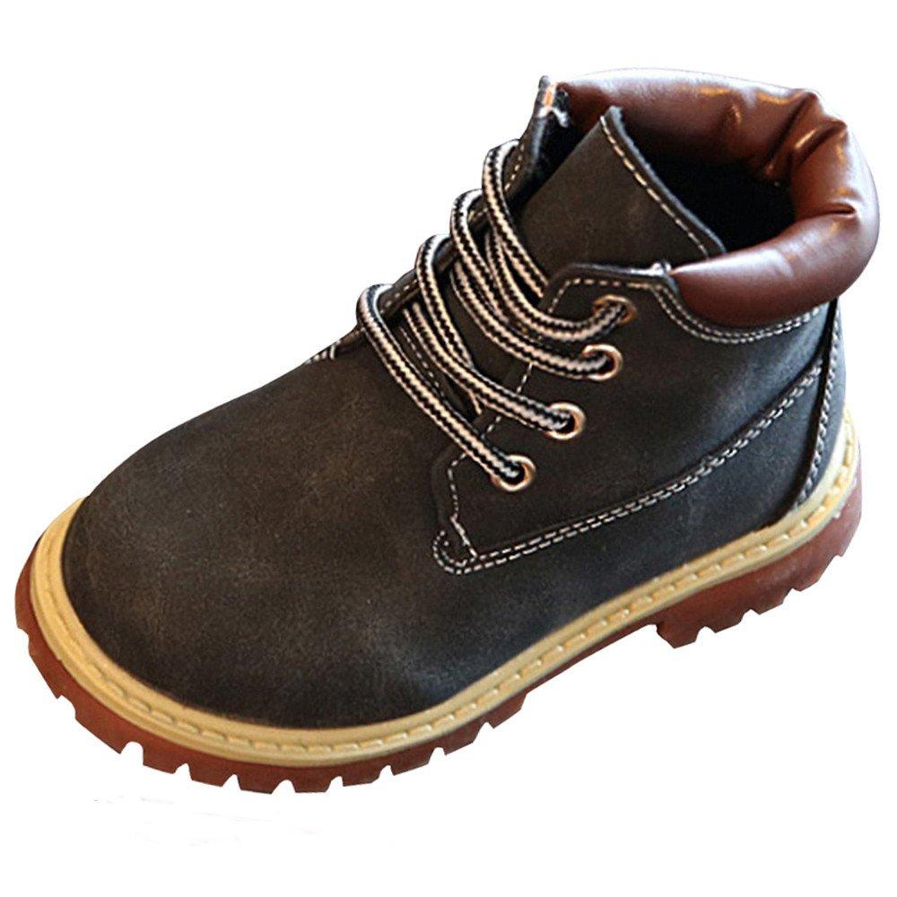 Celendi Children's Autumn Winter Fashion Martin boots Sneake Casual Flats Shoes (29cm(5.5-6T), Black)