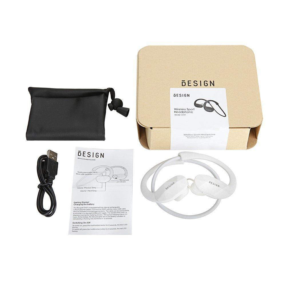 Besign SH01 Auriculares estéreo Bluetooth 4.1 para correr cascos deportivos y resistente al agua y sudor. Auriculares con Tecnología CVC 6.0 Avanzada para ...