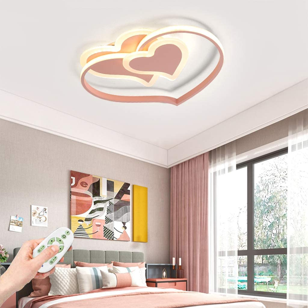 LED Plafond Lampe B/éb/é Moderne Cartoon Lampe De Plafonnier Creative Nursery Lampe Design Acrylique Coeur Abat Lampe De Plafond Pour Les Enfants Chambre /À Coucher Lustre Rose,Dimmable,42CM
