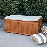 Natural Wood Finish Eucalyptus Outdoor Deck Storage Box Bin Patio Storage Bench Seat With Natural Cushion