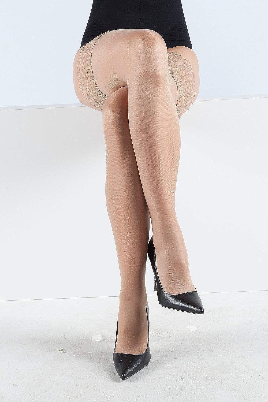 Ulla Popken Women's Plus Size Scalloped Trim Thigh High Stockings 308540