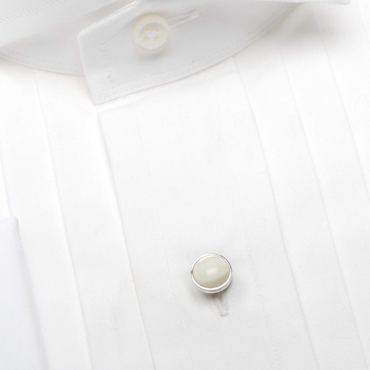 Ox and Bull Trading Co. Sterling Silver Ribbed Mother of Pearl Studs by Ox and Bull Trading Company (Image #3)