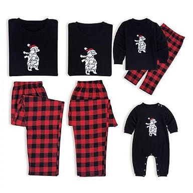 8edf4934f77e Amazon.com  Family Matching Pajamas Set Christmas Bear Santa Printed ...