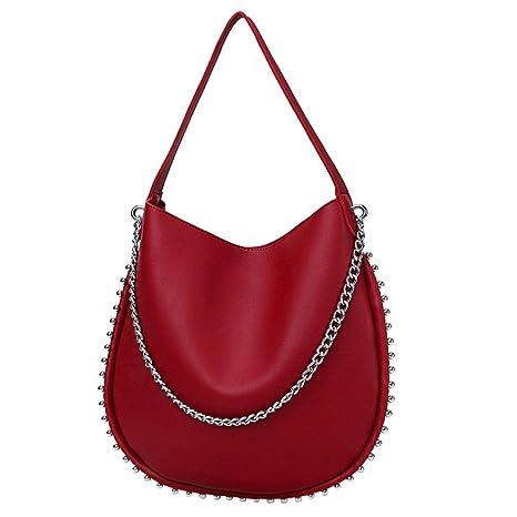 Sac A Main Mujer, mujeres Vintage remaches piel Pur color bolsas de hombro Corssbody bolsa
