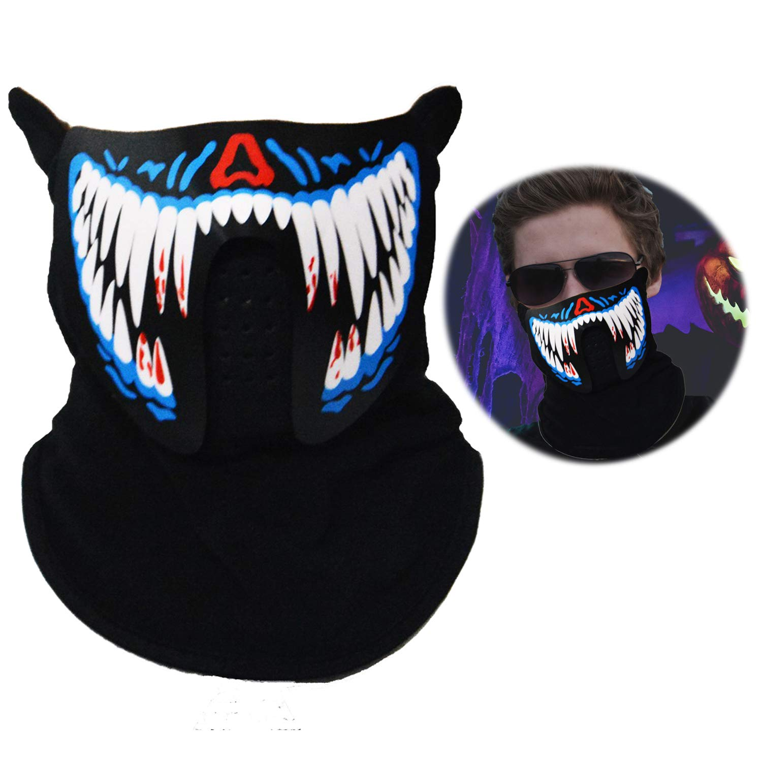 Halloween Mask Music LED Light Up Rave Mask Sound Actived Flashing Luminous Cool Party Mask
