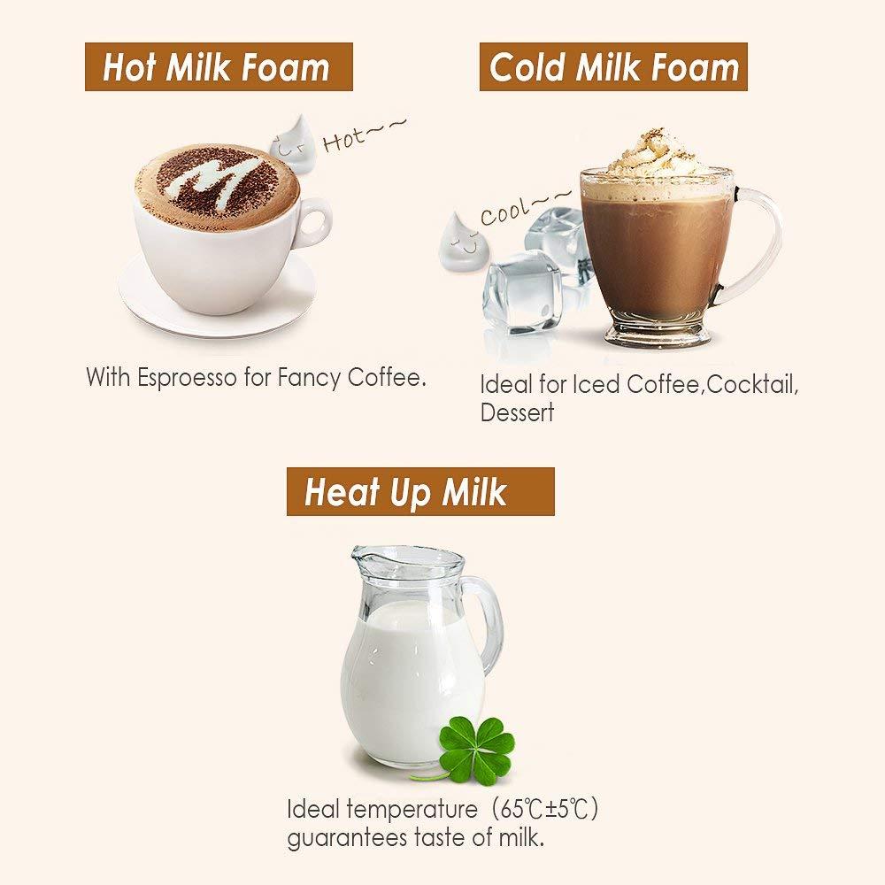 CHULUX Espumador de leche eléctrico, calentador y calefacción de 3 en 1 con cuatro varillas, espuma suave para café, Cappuccino, Latte y Chocolote caliente ...