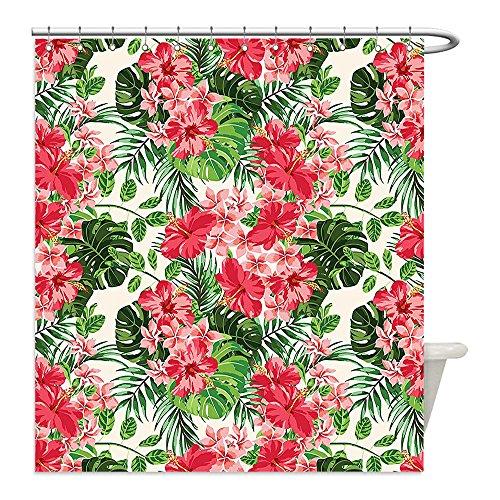 Diy Hunter And Deer Costume (Liguo88 Custom Waterproof Bathroom Shower Curtain Polyester Floral Tropical Botanic Flowers Leaves Ivy Island Hawaiian Image Dark Coral Hunter Green Jade Green Decorative bathroom)