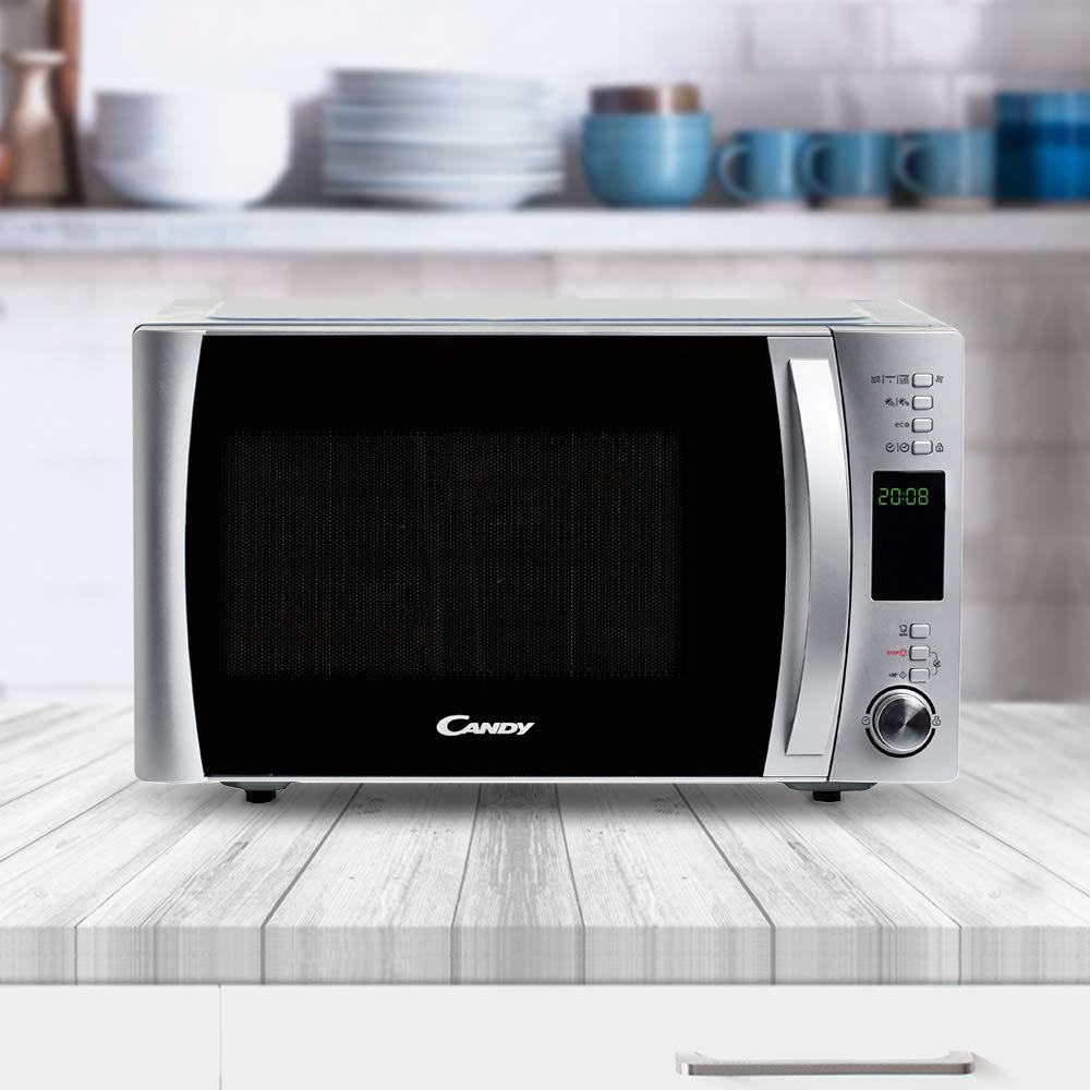 Candy CMXG30DS Microondas con grill y cook in app, Potencia 900W, Capacidad 30L, 40 Programas Automáticos, 5 Potencias, Color Silver