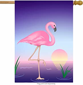 "ShineSnow Summer Purple Flamingo Moon Bird House Flag 28"" x 40"" Double Sided, Polyester Tropical Colorful Sunset Water Animal Welcome Yard Garden Flag Banners for Patio Lawn Home Outdoor Decor"