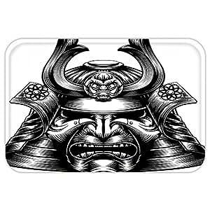 kisscase Custom puerta matjapanese Decor Vintage estilo Oriental Demon Samurai máscara y casco Oriental estilo artes marciales impresión decoración negro blanco