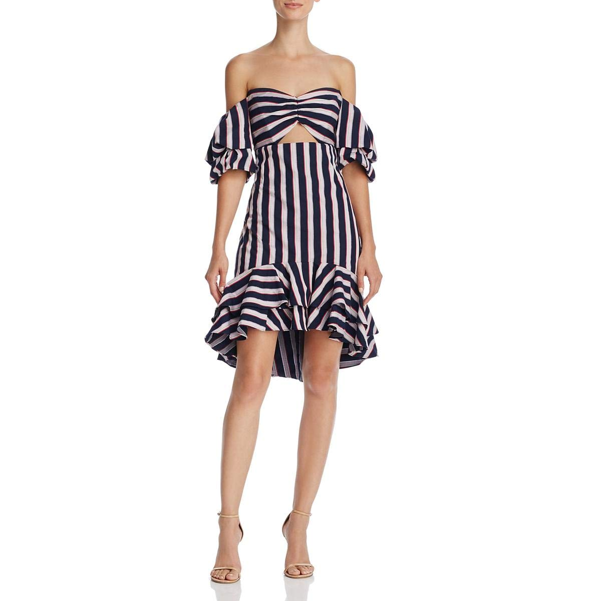 Navy   Pink WAYF Womens OffTheShoulder Ruffled Casual Dress