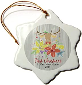 Mesllings Deer and Colorful Flowers First Christmas in Our New Home 2019 Christmas Ornament 3