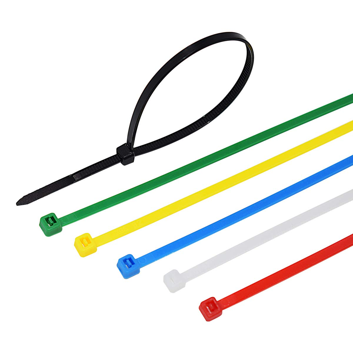 YESTOO 8 Inch Heavy Duty Self Locking Nylon Cable Zip Ties 150 Pieces Six Color