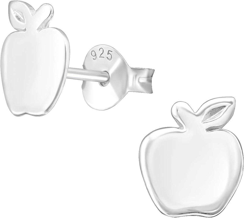 AUBE JEWELRY Hypoallergenic 925 Sterling Silver Snow White Apple Fruit Stud Earrings for Women | Apple Earrings for Teacher