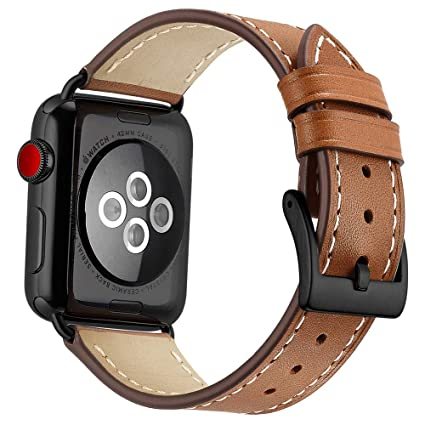Amazon.com: Correa de cuero para Apple Watch 44mm 42mm ...