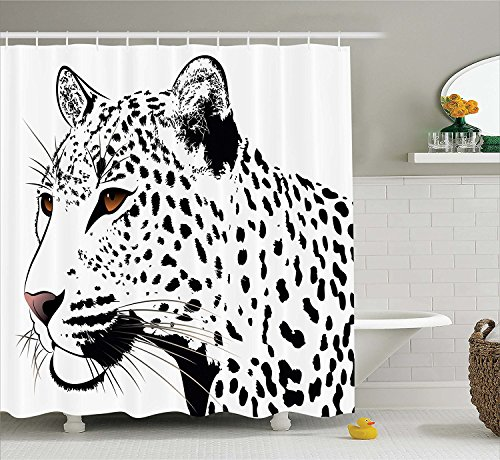 [Tattoo Decor Shower Curtain The Head of Magnificent Rare White Tiger with Ocean Blue Eyes Image Fabric Bathroom Decor Set with Hooks White Black and] (Magnificent Movie Costume)