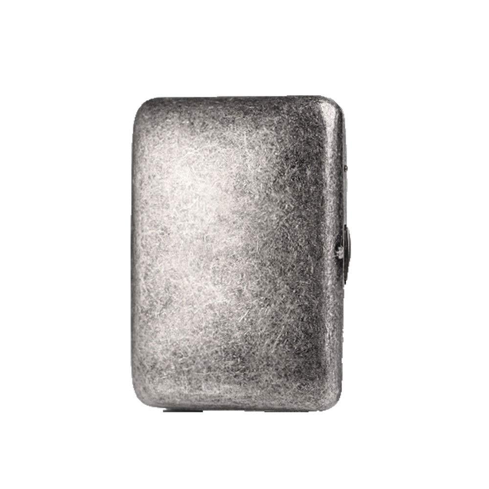 ZHONGYUE Cigarette Case, 16 Sticks of Pure Copper Cigarette Case, Antique Silver Metal Retro Creative Personality Cigarette Box, Male Portable Cigarette Case, Unique Design, Sturdy and li