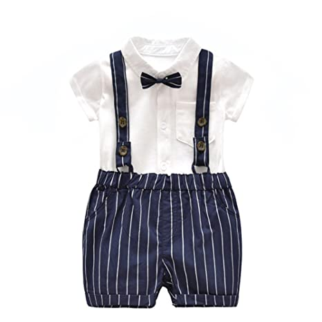 qseven Baby Boy Gentleman Bowtie tirantes Pelele Mono Mono traje ropa Talla:59CM