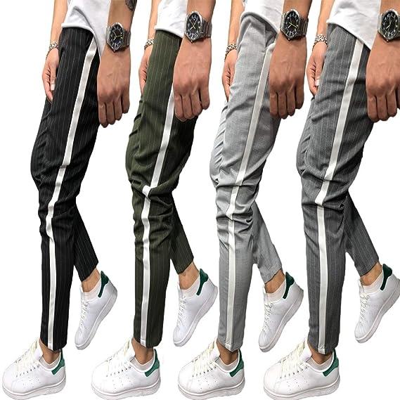 Shawnlen Pantalones Largos Ocasionales de los Hombres Slim Fit ...