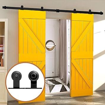 17FT/518cm Herraje para Puerta Corredera Kit de Accesorios para Puertas Correderas para Puertas Dobles,Negro T-Forma: Amazon.es: Bricolaje y herramientas