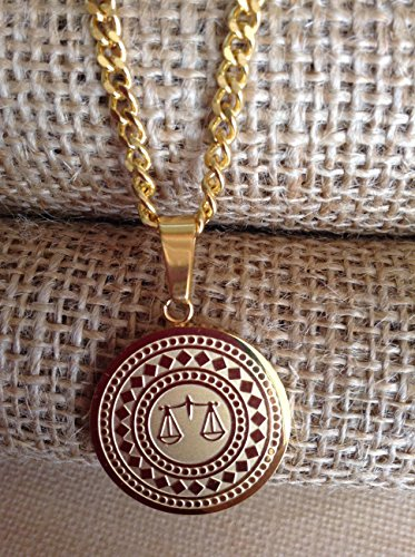 PJco - Gold Plated Scales of Justice Necklace - Lawyer Legal Unisex - Chain 26