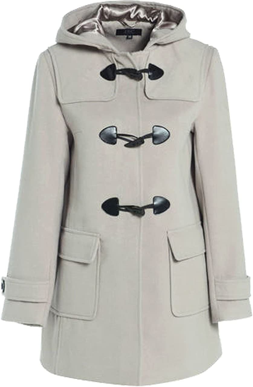 MyShoeStore Ladies Duffle Wool Coat Womens Trench Winter Casual Hooded Outerwear Vintage Warm Jacket Plus Sizes Overcoat