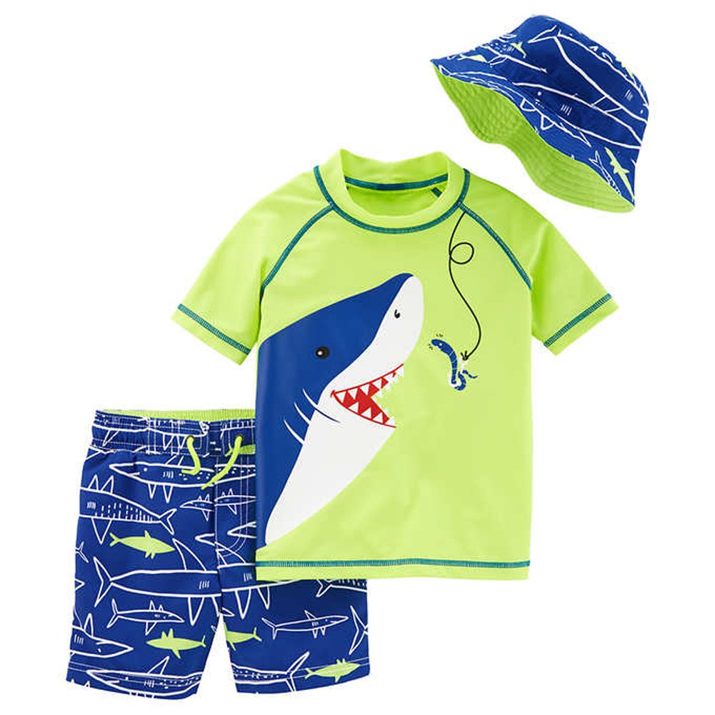 8ff341cd2 Amazon.com: Little Boys 3 Pc Swim Set - Swim Short, Rash Guard, Reversible  Hat (Shark, 3T): Clothing