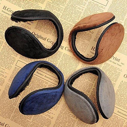 Neaer 4 PCS Unisex Men Women Faux Furry Fleece Winter Solid Soft Plush Ear Muffs Earmuffs Earwarmers,Black