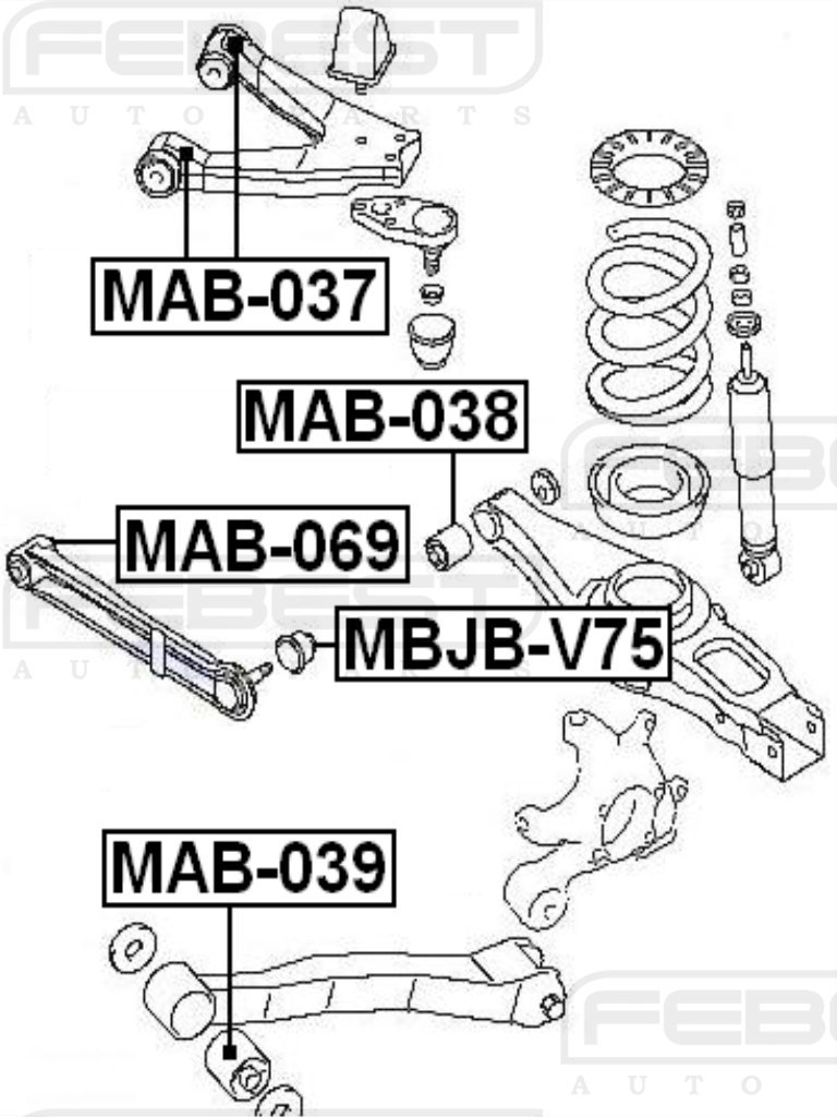 FEBEST MAB-038 Arm Bushing for Track Control Arm