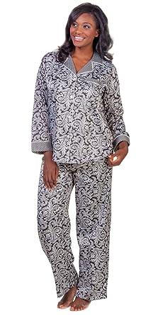 Miss Elaine Brushed Back Satin Pajamas in Paisley Prints Medium 10