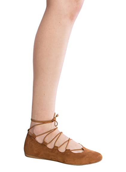 3ad1ce46b1 Amazon.com | OLIVIA K Women's Pointed Toe Lace Up Ghillie Ballet Flat Tan |  Flats