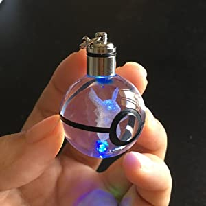 S-SO 3D Crystal Ball Night LED Color Changing Lighting up Keychain (pkc) (Color: Pkc)