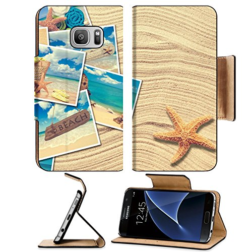 Liili Premium Samsung Galaxy S7 Flip Pu Leather Wallet Case Vacation postcards on a sand background with starfish Photo 19426787 Simple Snap Carrying