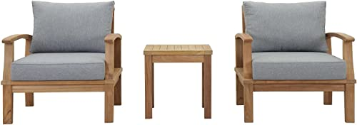 Modway EEI-1487-NAT-GRY-SET Marina Premium Grade A Teak Wood Outdoor Patio Furniture Set