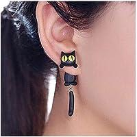 Cat Women Stud Earrings Jewellery,Handmade Earring for Mens Girls Kids (Black)