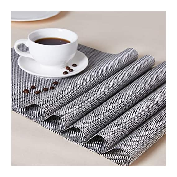 """Placemats Table Mats Gray Placemat Set of 8 Easy to Clean Non Slip Wipeable Place Mats Heat Resistant Farmhouse Modern Thanksgiving Christmas Table Mats for Dining Kitchen Table - Material:The table placemats are made of environmental PVC Material, these placemats for dining table are size in 18"""" x 12"""" (45cm x 30cm), pack of 8. The Features: The placemats set of 8 are non slip, heat insulation, easy to clean, just use wet towel or cloth to wipe off, also these gray placemats can be washed by soft brush. Protecting your table with these durable farmhouse placemats. The highest temperature of the placemats gray for heat insulation is 100 degree; Elegant Design: these kitchen placemats set of 8 are perfect addition to your dinner table,beautiful stylish and modern placemats to add more fun to your kitchen table,coffee time; - placemats, kitchen-dining-room-table-linens, kitchen-dining-room - 614Lt4XhLOL. SS570  -"""