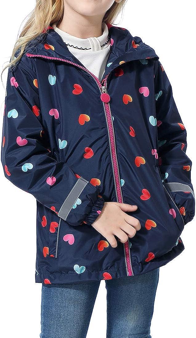 LAUSONS Toddler Girl Raincoat Childrens Windbreaker Fleece Lined Rain Jacket