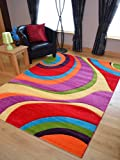 Candy Multicoloured Swirl Design Rug. Available in 7 Sizes (160cm x 220cm)