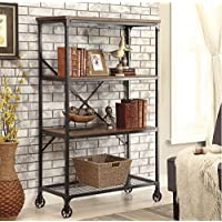 Rolling Bookcase with Fixed Shelves Featuring a Rustic, Industrial, Factory or Urban Look