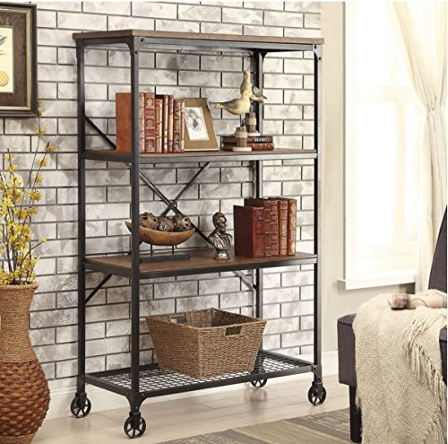 Cheap  Rolling Bookcase with Fixed Shelves Featuring a Rustic, Industrial, Factory or Urban..