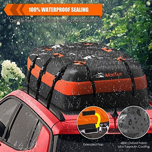 XBEEK Car Roof Top Rooftop Cargo Carrier Bag 20 Cubic toes Waterproof for All Cars with/Without Rack, Includes Anti-Slip Mat, 10 Reinforced Straps, 6 Door Hooks, Luggage Lock